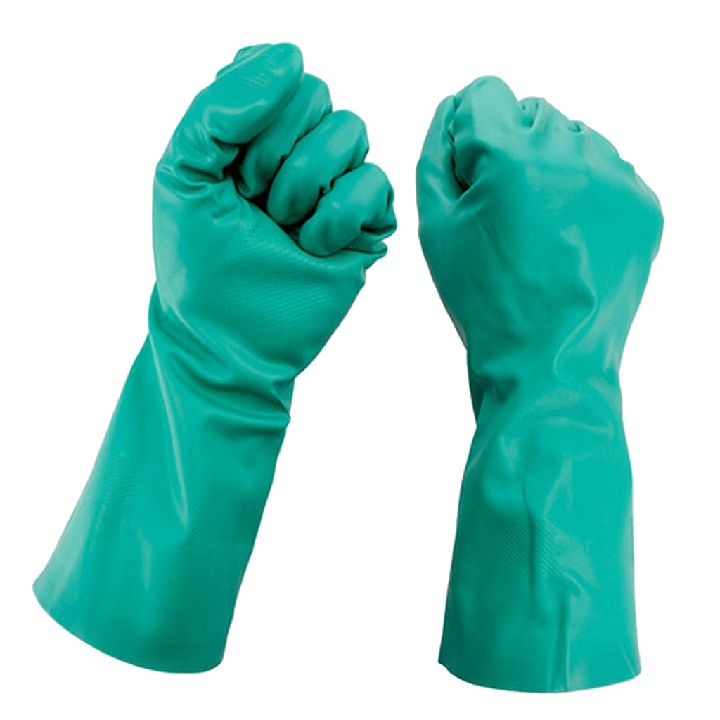 1 Pair Comfortable Nitrile Gloves Mechanic Disposable Rubber Green