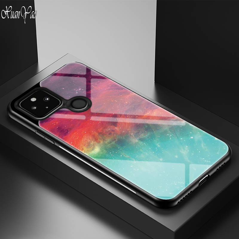 Pixel 5 XL Case Glass Luxury Silicone Soft Frame Cover For Google Pxiel 5 XL Case Hard Glass Cover For Google Pxiel 5 XL