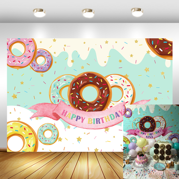 Donut Theme Backdrops for Photography Happy Birthday Party Banner Decoration Sweet Chocolate Girl Birthday Photo Background 60x84 inches flowers theme photography backdrops party background for wedding baby birthday decoration photo wall studio props