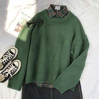 Mooirue Dark Green Round Neck Pullover Sweater Long Sleeve Warm Autumn Pullovers Jumper 1