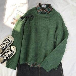 Mooirue Dark Green Round Neck Pullover Sweater Long Sleeve Warm Autumn Pullovers Jumper