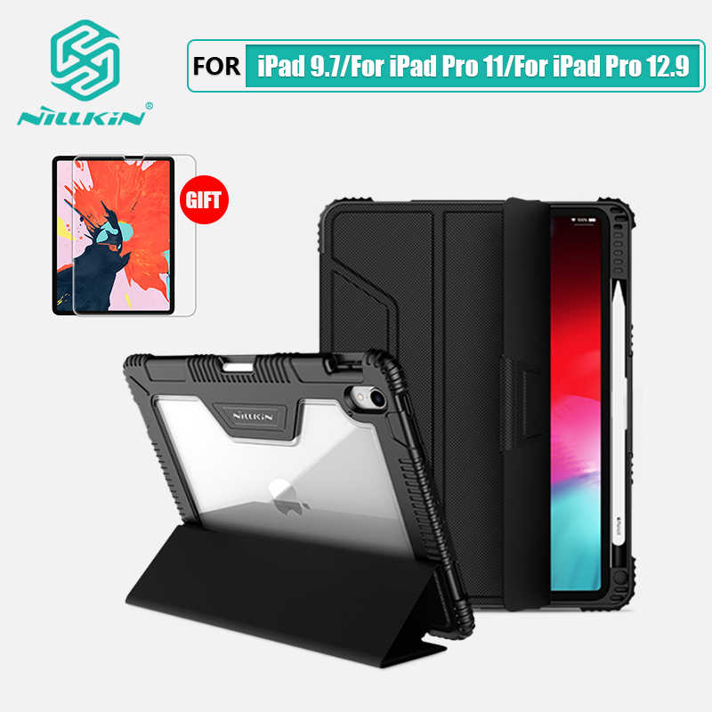 NILLKIN สำหรับ iPad 9.7 สำหรับ iPad Pro 11 สำหรับ iPad Pro 12.9 2018 ฝาครอบ Smart Flip ของขวัญหน้าจอ Protector ผู้ถือดินสอ