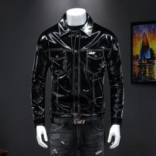 Брендовая мужская новая осенне-зимняя новая мужская кожаная куртка модные куртки с лацканами корейские мужские лакированные кожаные глянцевые пальто больших размеров
