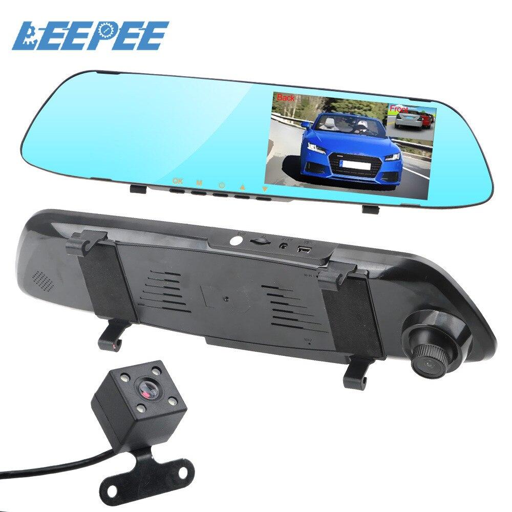 LEEPEE 풀 HD 1080P 자동차 DVR 대시 카메라 자동 5 인치 백미러 디지털 비디오 레코더 듀얼 렌즈 등록 캠코더