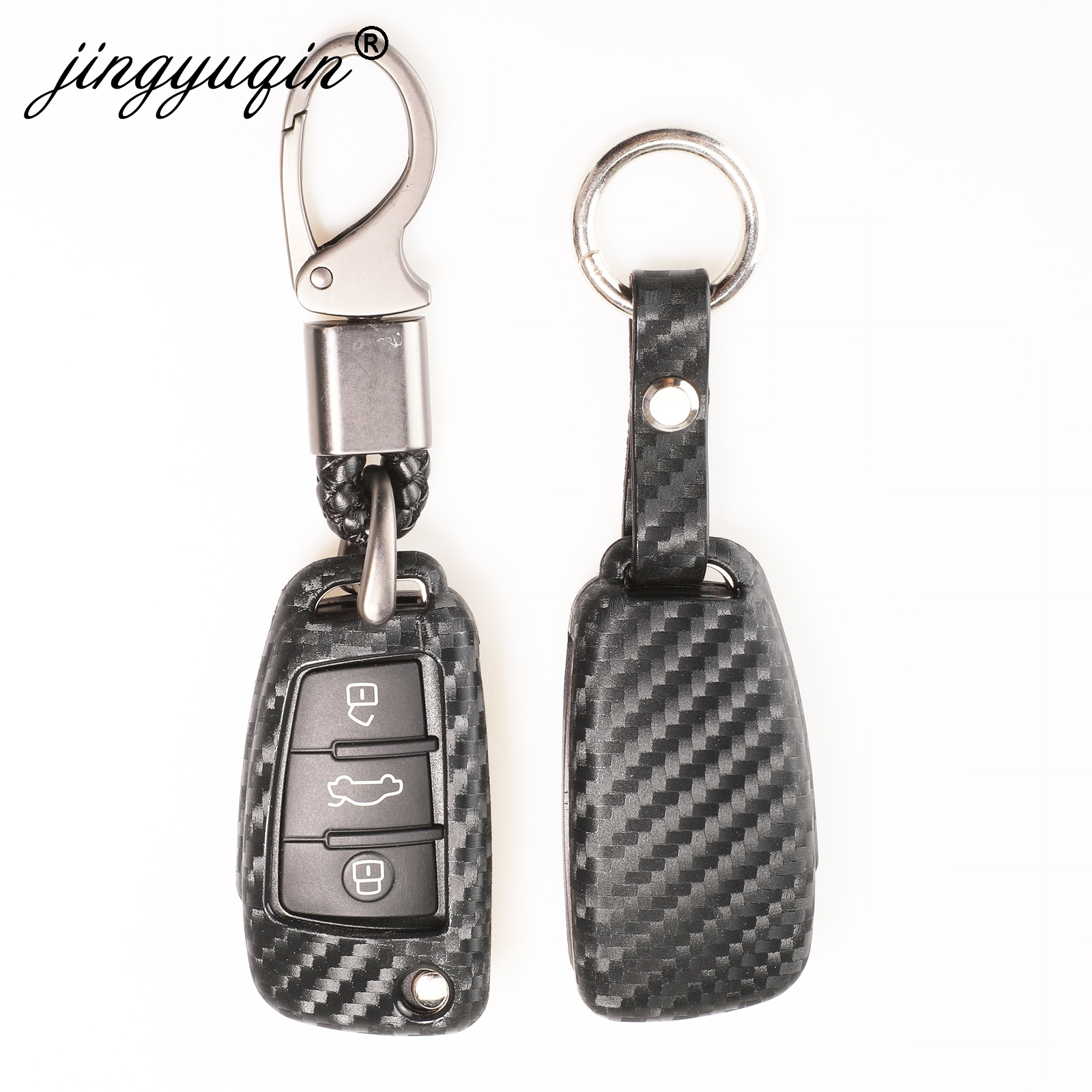 jingyuqin 10X 3 Button Soft Carbon Silicone Car <font><b>Remote</b></font> <font><b>Key</b></font> Fob Cover Case For <font><b>Audi</b></font> A3 8L 8P A4 B6 B7 B8 <font><b>A6</b></font> <font><b>C5</b></font> C6 4F RS3 Q3 Q7 TT image