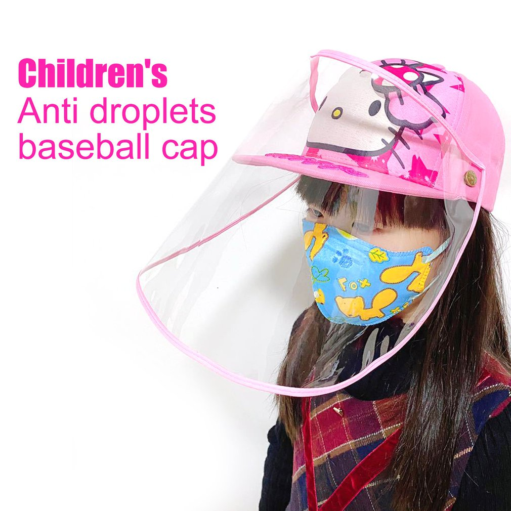 Kids Protective Hat Transparent Anti-saliva Removable Outdoor Baseball Cap For Children Dust Cover Full Face Anti Droplet Hat