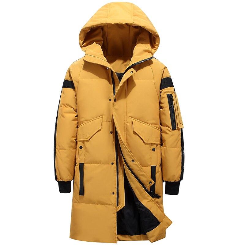 80% de pato branco para baixo jaqueta de neve com capuz para baixo parkas 30 graus rússia inverno para baixo jaqueta masculina moda grossa longo casaco