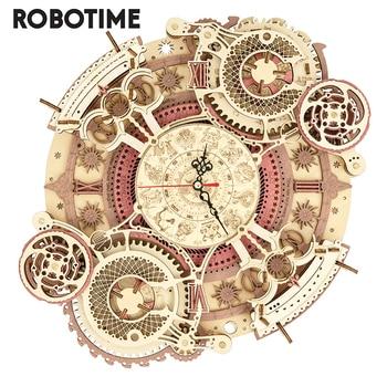 Robotime-Juego de bloques de construcción en miniatura para niños y adultos, juguete de construcción en miniatura de madera 3D con diseño de arte del Zodíaco, reloj de pared, bricolaje, montaje de juguete para regalo