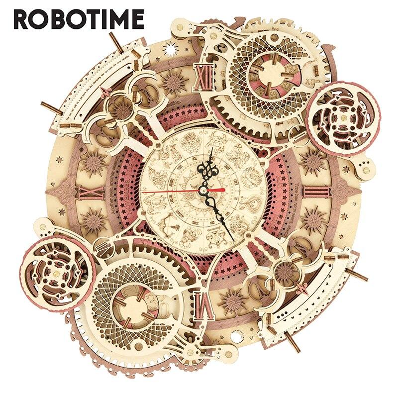 Robotime TIME ART bricolage 3D jeu de Puzzle en bois zodiaque horloge murale assemblage jouet construction cadeau pour enfants enfants adultes LC