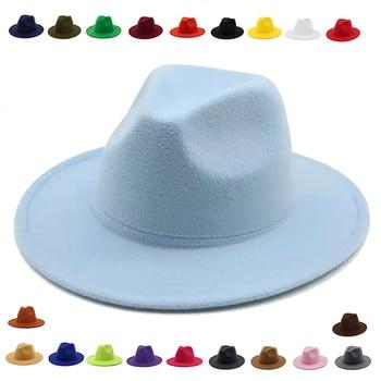 fedora hat women Wide Brim autumn solid formal dress wedding women hats camel black white fedora felted classic jazz winter hats