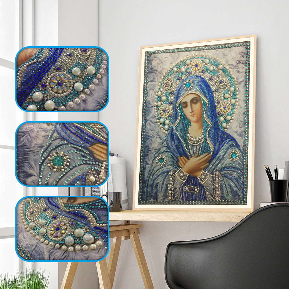New Special Shaped Round Crystal Drill 5D DIY Diamond Painting Embroidery Icon Religion Rhinestones Cross Stitch Gift Decor HH4
