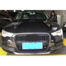 Para rs6 estilo frente esporte hex malha favo de mel capa grill preto para audi a6/s6 c7 2012 2013 2014 2015 acessórios de estilo do carro