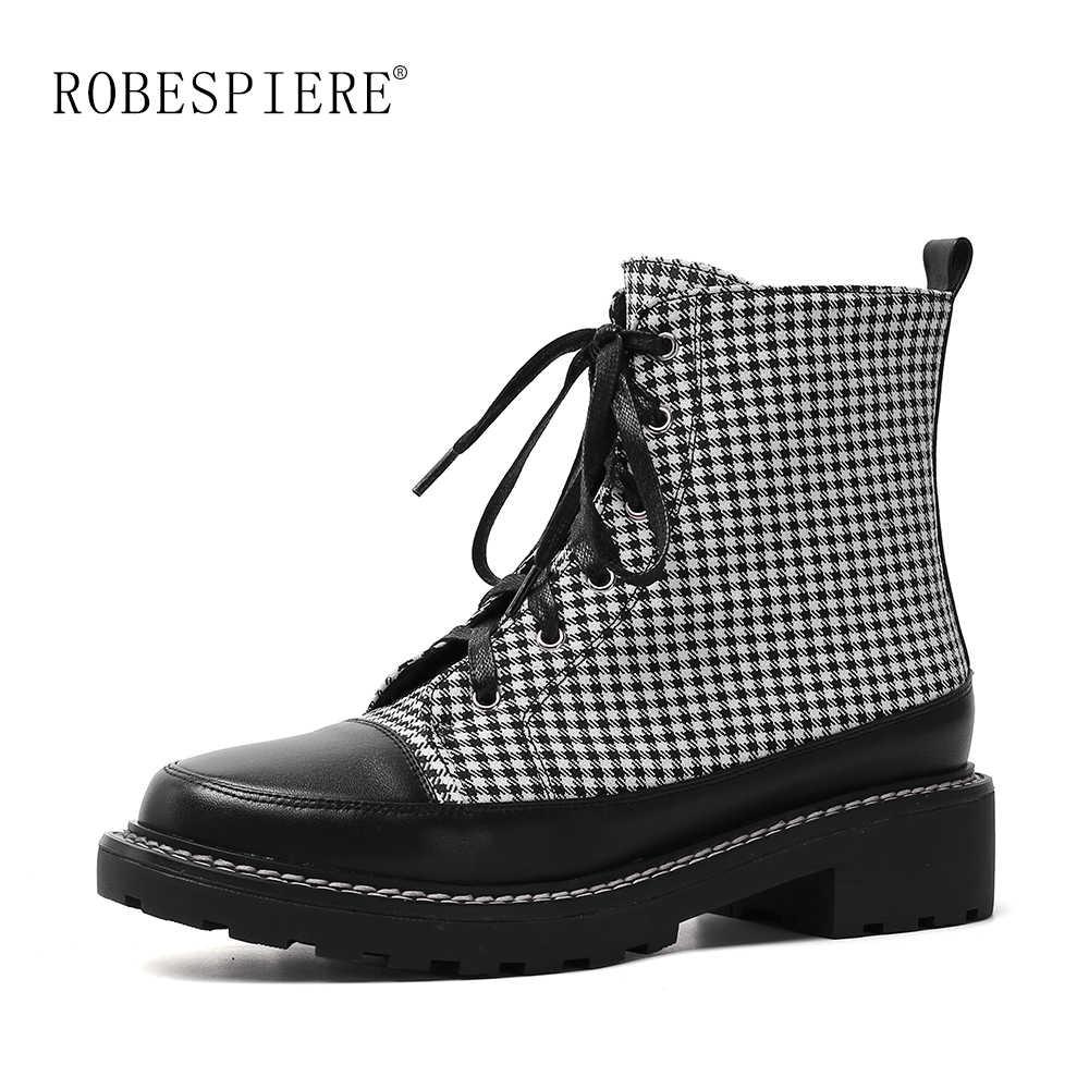 ROBESPIERE kadın botları moda ekose yuvarlak ayak düz Platform kadın ayakkabısı hakiki Lreather sıcak ayakkabı kış yarım çizmeler B126
