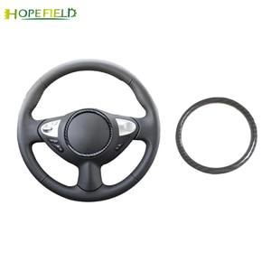 Image 1 - Auto Stuurwiel Cirkel Trim Frame Sticker Carbon Fiber Cover Auto Accessoires Voor Nissan Juke Voor Qashqai J10 Almera N16 note