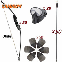 30lbs CS Games Recurve Bow Set 20pcs Bows 12pcs masks 50 pcs Arrow Archery Shooting Hunting
