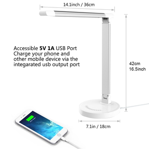 Image 4 - Greenbird LED Desk Lamp, Eye caring Table Lamps, Dimmable Office Lamp with USB Charging Port, 5 Lighting Modes with 7 Brightness