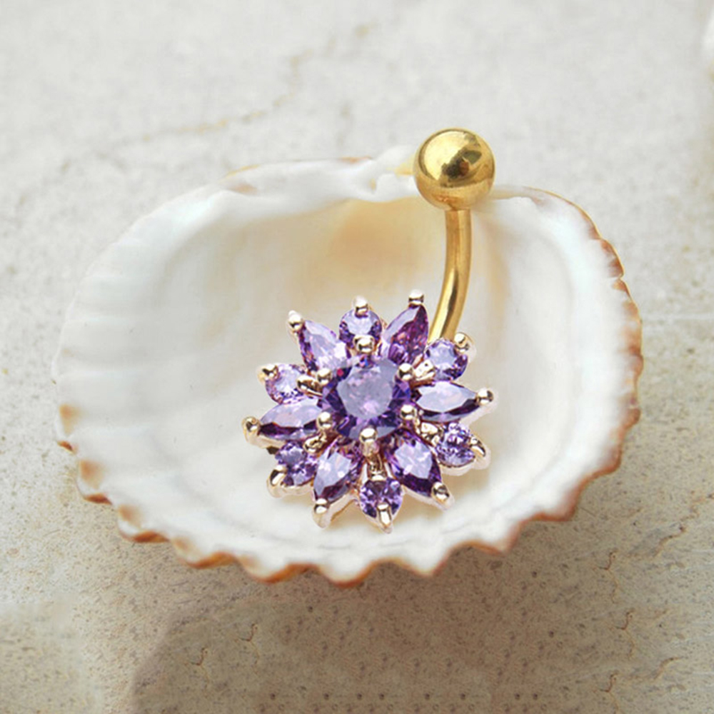 H6befc99815d8451c88957b08df923835w Navel Piercing Body Jewelry Crystal Flower Belly Button Ring