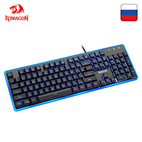 Redragon K509 USB gaming Membrane keyboard ergonomic 7 color LED backlit keys Full key anti ghosting 104 wired PC Computer gamer