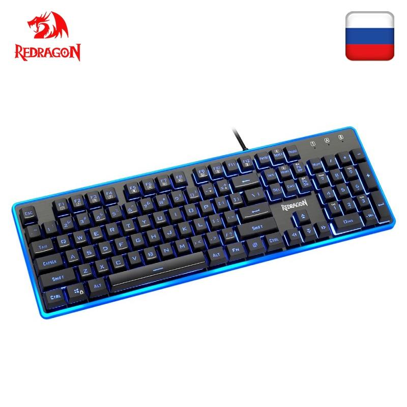 Redragon K509 USB Gaming Membrane Keyboard Ergonomic 7 Color LED Backlit Keys Full Key Anti-ghosting 104 Wired PC Computer Gamer