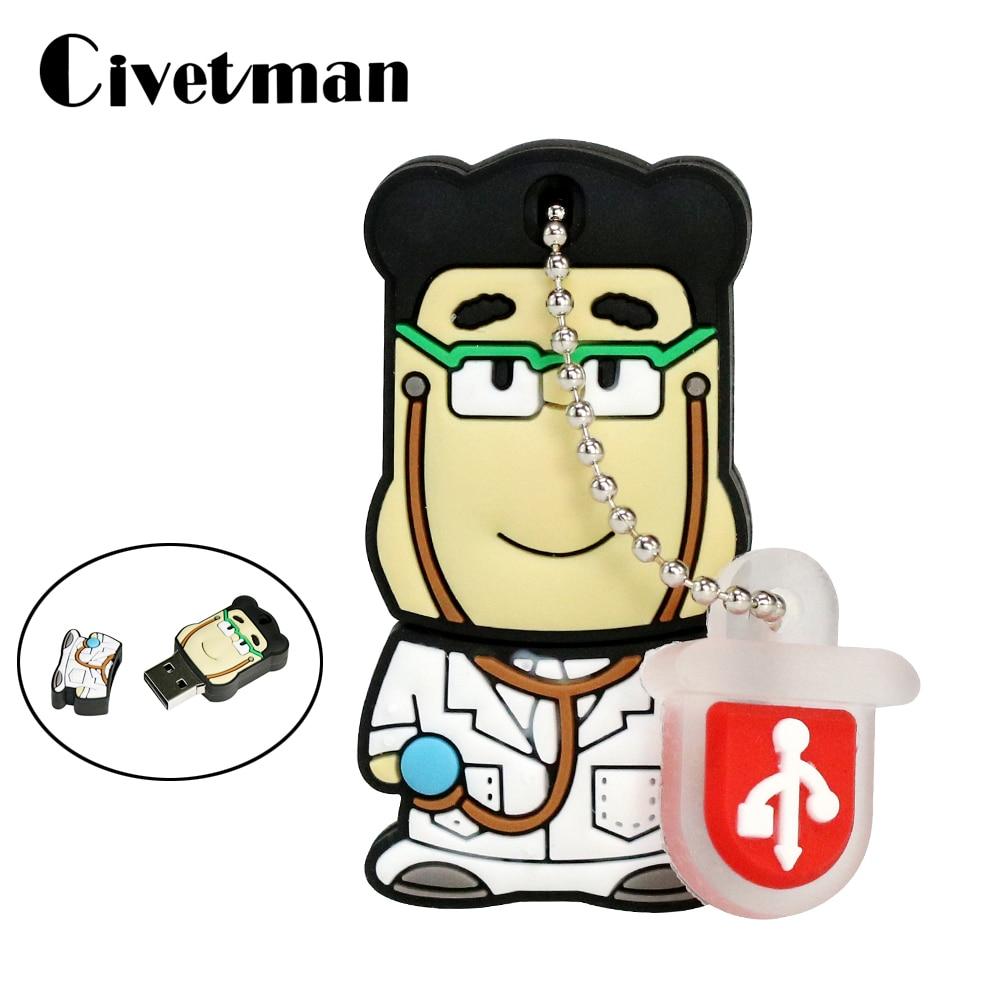 New Cartoon Doctors Memory Stick 4GB 8GB 16GB 32GB 64GB Lovely Medical Pendrive Cartoon USB Flash Drive 256GB Doctor Pendrive