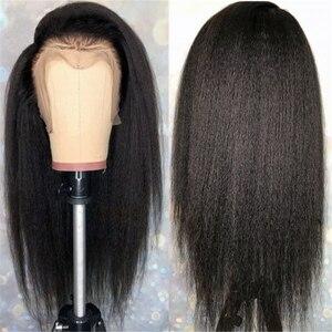 Кудрявые прямые парики из человеческих волос на сетке спереди 13x4 для черных женщин, человеческие волосы Yaki, 28 Дюймов, 30 дюймов, Бразильская ф...