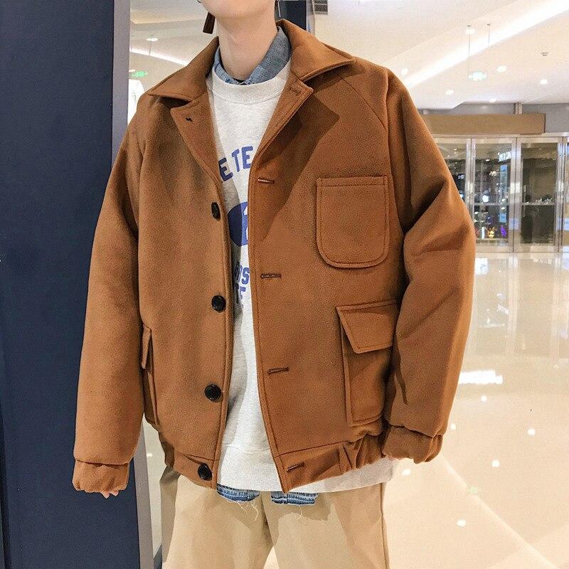Зимнее Короткое шерстяное пальто, Мужская модная однотонная повседневная шерстяная куртка, Мужская Уличная свободная шерстяная куртка