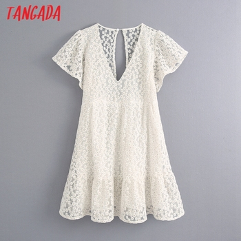 Tangada Fashion Women Floral Embroidery Playsuit V Neck Backless Short Sleeve Buttons Female Sexy Beach Playsuit BE762