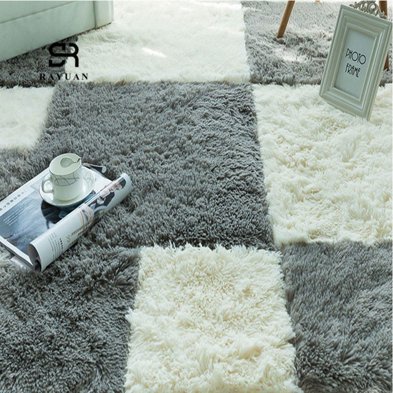 RAYUAN 9Pcs DIY Puzzle Mat EVA Foam Villus Shaggy Carpet Playmat Plush Warm Soft Area Rug Children Baby Play Mat 30x30CM