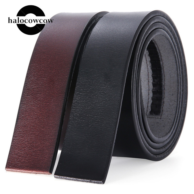 Men's 3.5cm Width Automatic Buckle Belt No Buckle Real Genuine Leather Belt Without Buckle Cowboy Cowskin Leather Belt Body