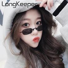 LongKeeper Vintage Punk Sunglasses Women Classic Rectangle Sun Glasses Men Small Metal Frame Eyewear Red Pink Yellow Oculos