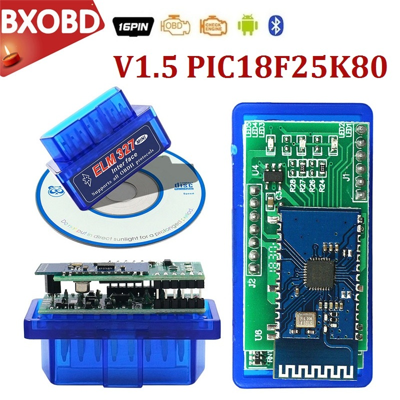Bluetooth-сканер ELM 327 V1.5 Mini ELM327 OBD2, сканер PIC18F25K80 V1.5 ELM327 OBD2, Bluetooth-адаптер OBD2 ELM 327 V1.5 для Android/ПК