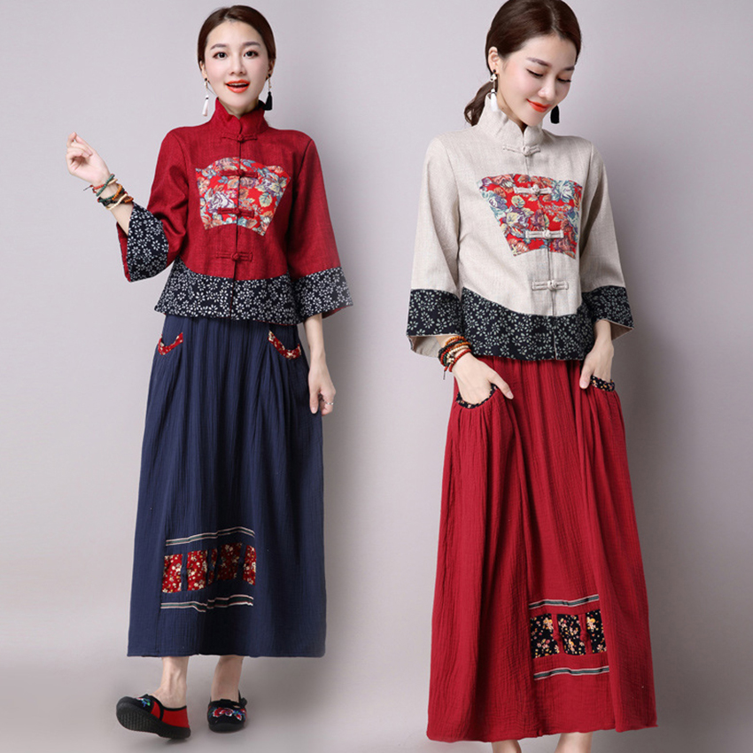 National Floral Print Cheongsam Chinese Dress For Women Skirt  Embroidery Tangsuit Qipao Linen Long Sleeve Dresses Elegant