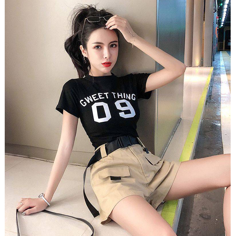 Women 2 Pieces Shorts Sets Summer Tops And Shorts Sets Female High Waist Black Shorts Vintage Lady Casual Two Piece Matching Set
