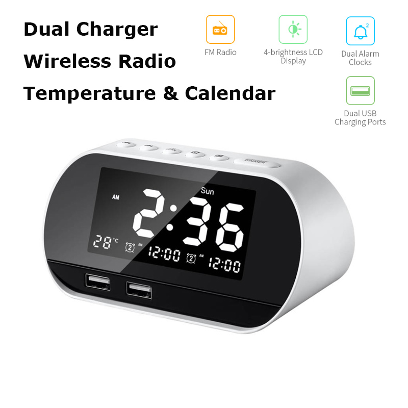 LED Alarm Clock Digital Snooze Table Clock  Electronic Temperature & Calendar Display Home Decoration Clock AM/FM Radio