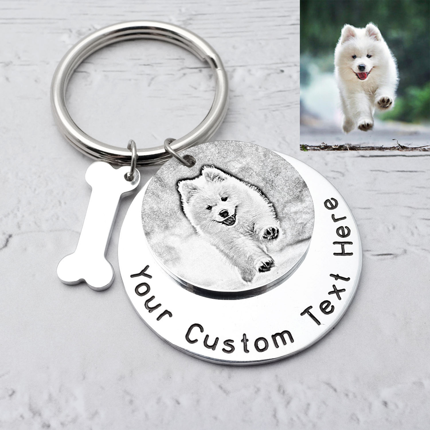 Custom Engraving Keyring With Picture Pet Photo Key Chain Gift Pet Picture ID Tag With Bone Pet Memorial Christmas Gift