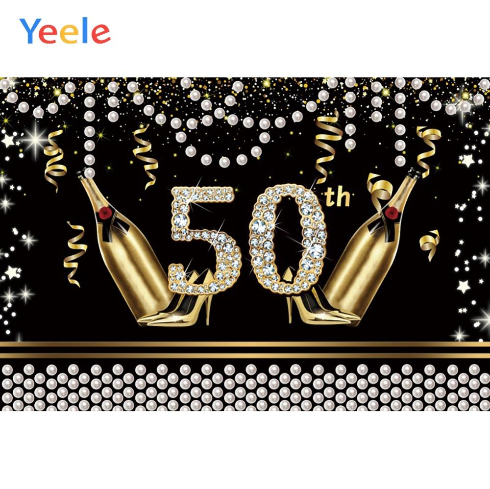 30th 40th 50th Birthday Party Gold Bottle High Heels Fabulous Women Shiny Diamond Poster For Photo Background Photo Backdrop