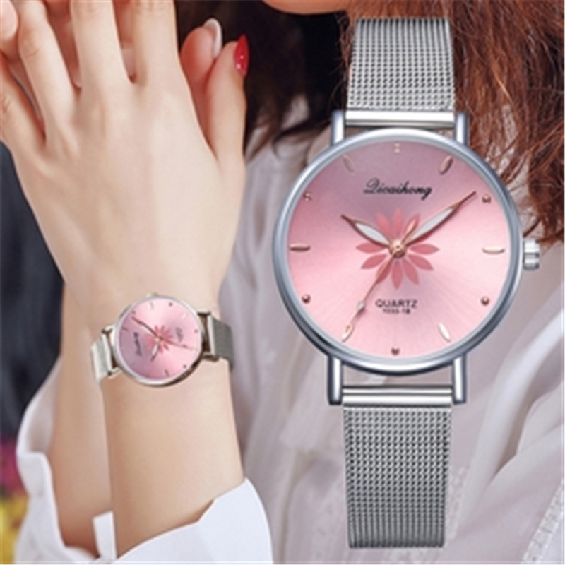 Women's Wristwatches Luxury Silver Popular Pink Dial Flowers Metal Ladies Bracelet Quartz Clock Fashion Wrist Watch 2019 Top Fi