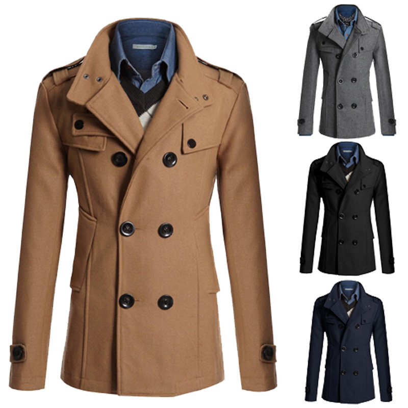 Men Winter Warm Trench Woolen Coat Slim Fit Casual Reefer Jackets Solid Stand Collar Double Breasted Peacoat Parka U71509