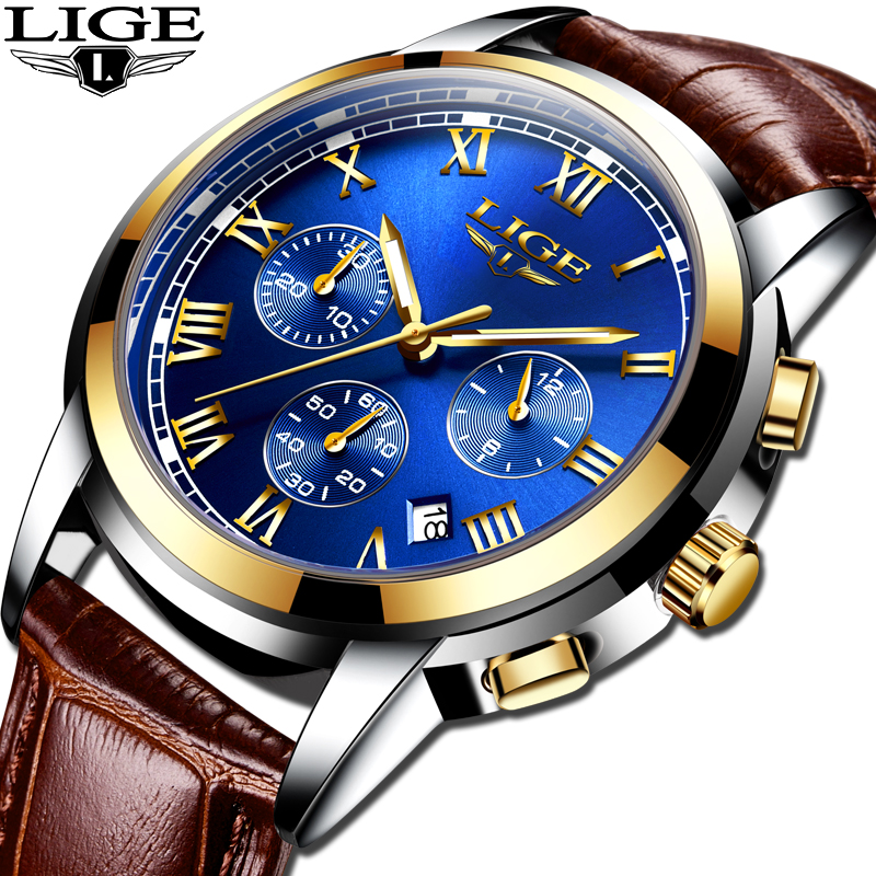 Leather Reloj Hombre 2020 LIGE Mens Watches Top Brand Luxury Men's Sport's Watch For Men Fashion Casual Waterproof Quartz Watch