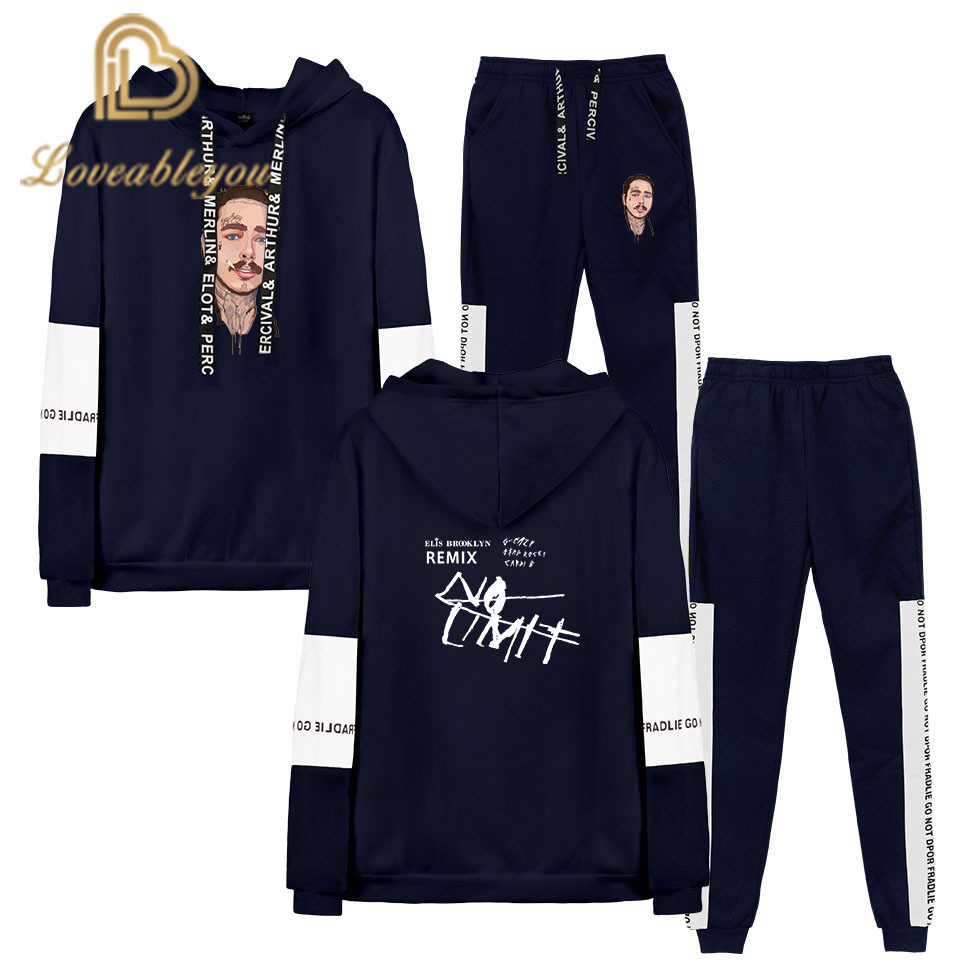 Post Malone Hip Hop Sweatshirt Sets Men's Autumn Sports Street Long Sleeve Hood+trousers Set Casual Cool Fashion 2XS-4XL Suits