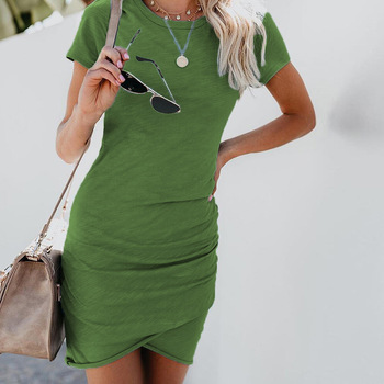 Sexy Dresses Women Summer Mini Dress  Short Sleeve Solid Bodycon Slim Party Dress Casual Bodycon Beach Dress Vestido Plus Size 2