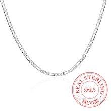 Collier de chaîne Figaro en argent Sterling 925 pour femme et garçon, bijou italien fin de 40 à 75cm, 4mm