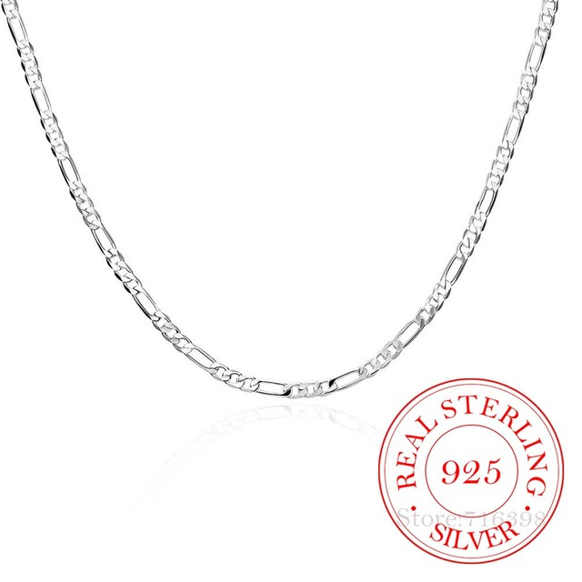 40-75cm Slim 925 Sterling Silver 4mm Figaro Chain Necklace for Women Girl Boy Kids Italy Jewelry Kolye Collares Sieraden Colier