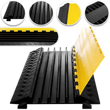 VEVOR 5 Channel Cable Protective Wire Cord Ramp Driveway Rubber Traffic Speed Bumps Cable Protector
