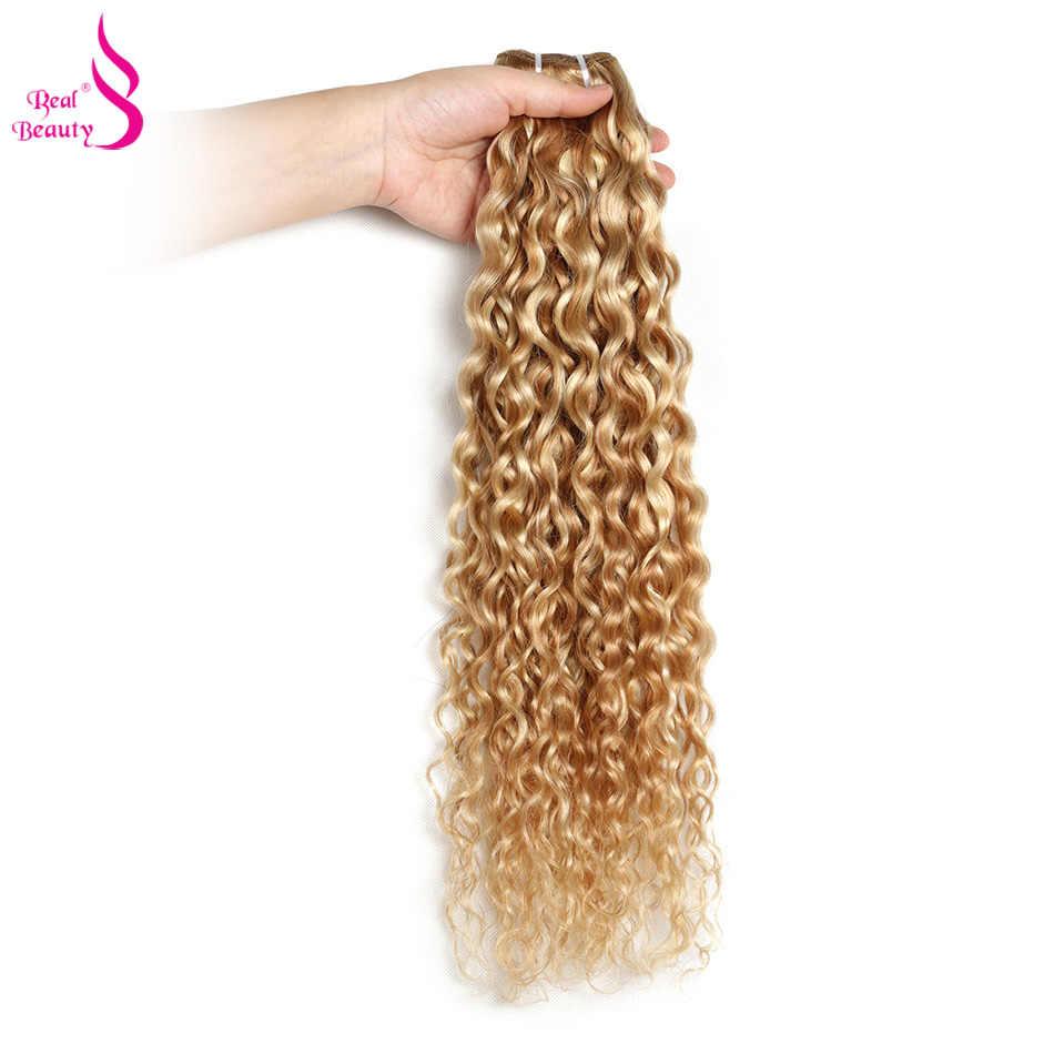 """Ombre P27/613 woda fala 3 zestawy brazylijski kulminacyjnym blond wiązki Remy ludzkie włosy splot wiązki real beauty Two Tone 12 """"-24"""""""