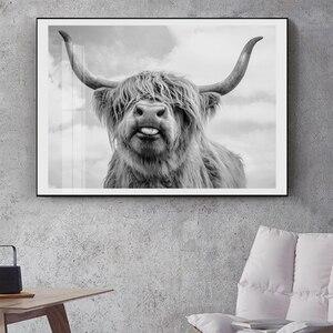 Черно белый настенный постер Highland Cow, шотландский крупный рогатой животный, холст, настенная живопись без рамки, современная картина|Рисование и каллиграфия|   | АлиЭкспресс