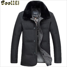 Boollili 90 White Duck Down Jacket Men Winter Coats Luxury Rabbit Fur Collar Thick Warm Jackets Male outerwear Parka cheap REGULAR WLF069 Casual zipper Full Button Zippers Thick (Winter) Broadcloth Polyester NONE 150g-200g Solid 90 white duck down 10