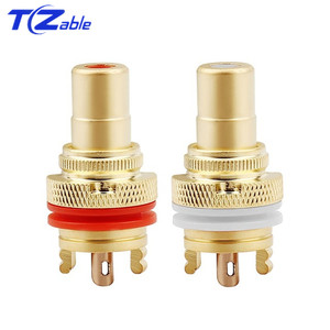 Image 2 - RCA Connector Female Socket Chassis Speaker Connectors Bright/Dumb/Rhodium Plated Copper Jack 32mm HiFi White Red Audio Jack