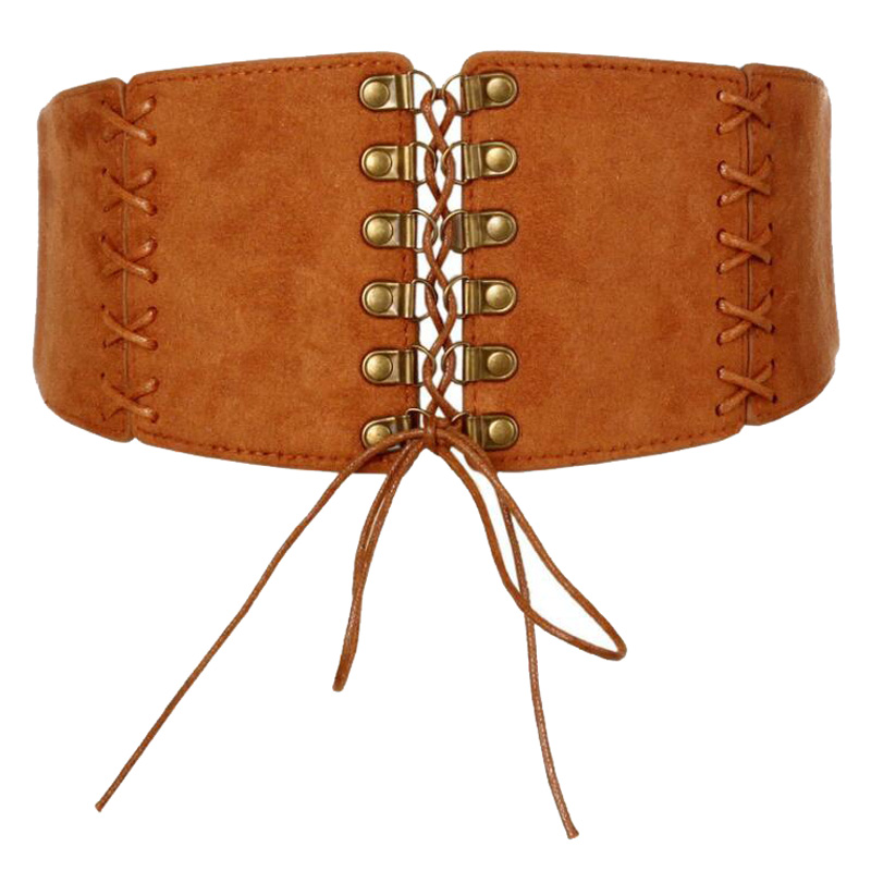 Western Elastic Fabirc Bandage PU Leather Women Cummerbund Fashion Slim Women Wide Belt
