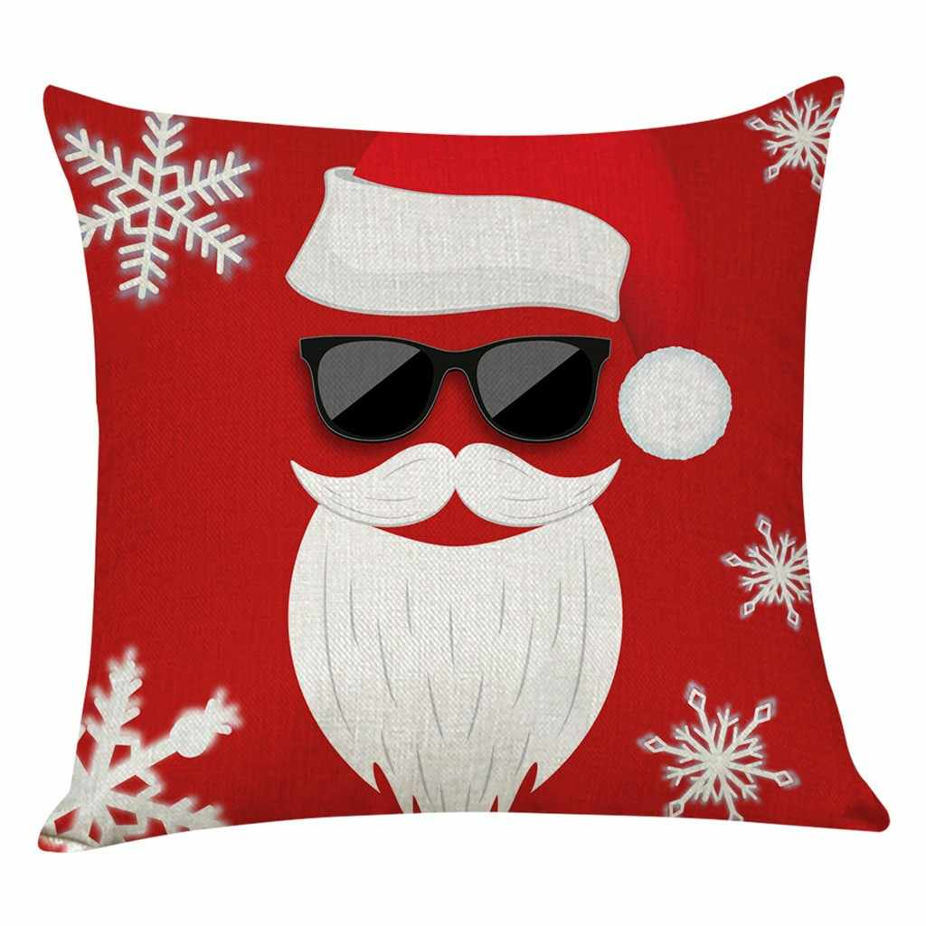 Home Decor Cushion Cover Merry Christmas Pillowcase Sofa Throw Pillow Covers Christmas Day Party Home Decoration